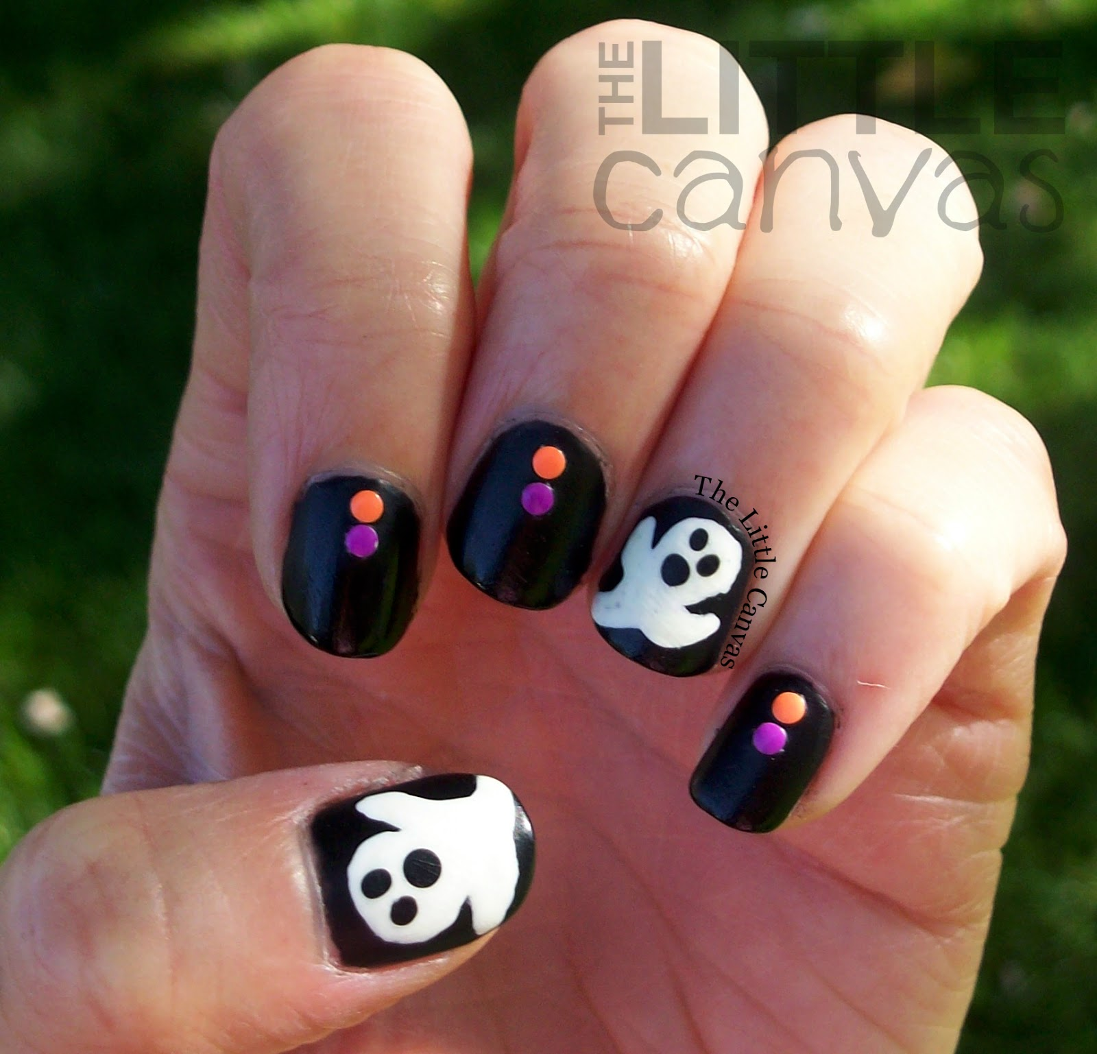 Ghost nail art my first stud manicure the little canvas ghost nail art my first stud manicure prinsesfo Gallery