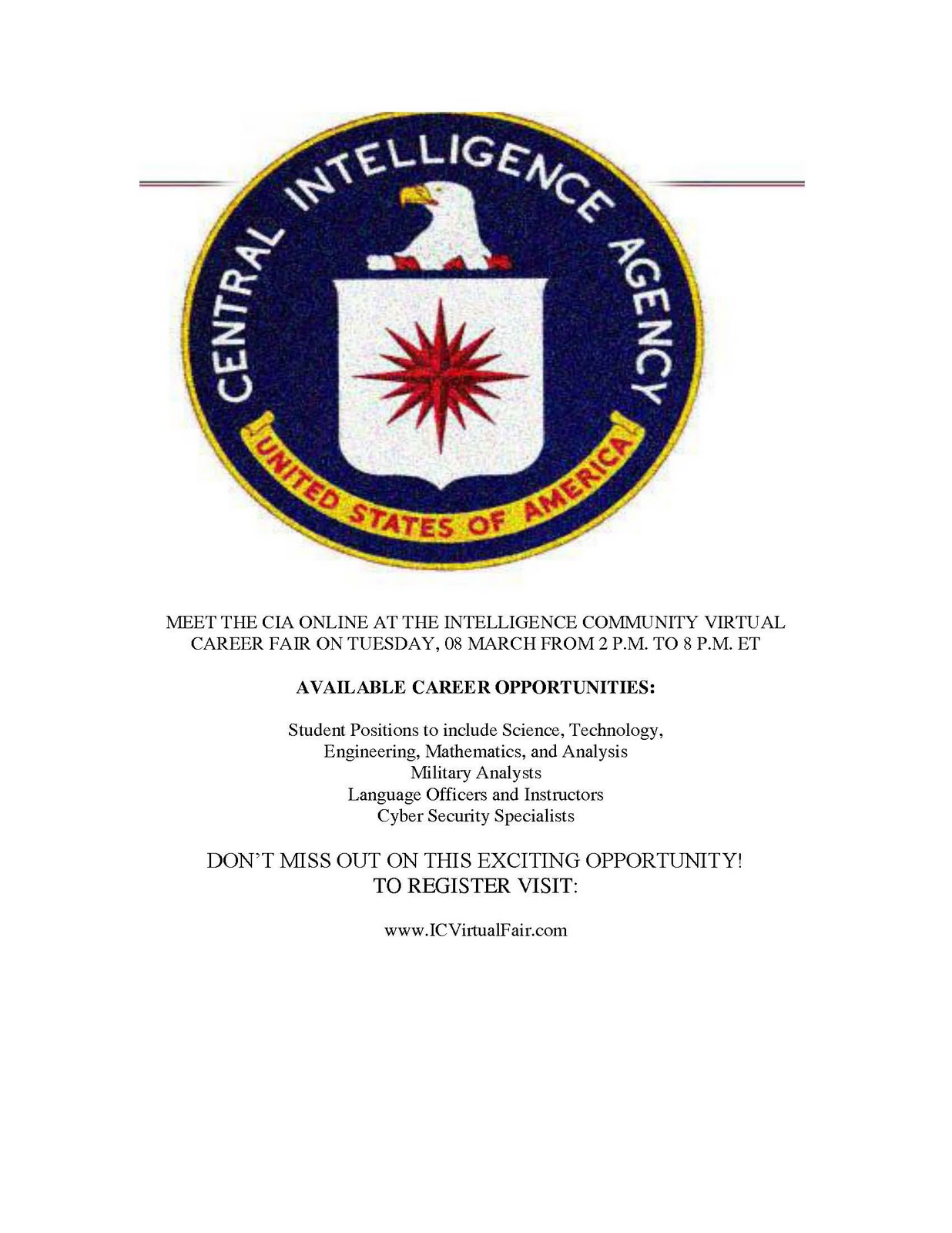 Tigers Prepare Intelligence Community Virtual Career Fair March 8th