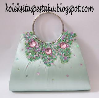 Tas Pesta Clutch Bag Perpaduan Tosca Muda dan Pink Muda Cantik Harga Murah