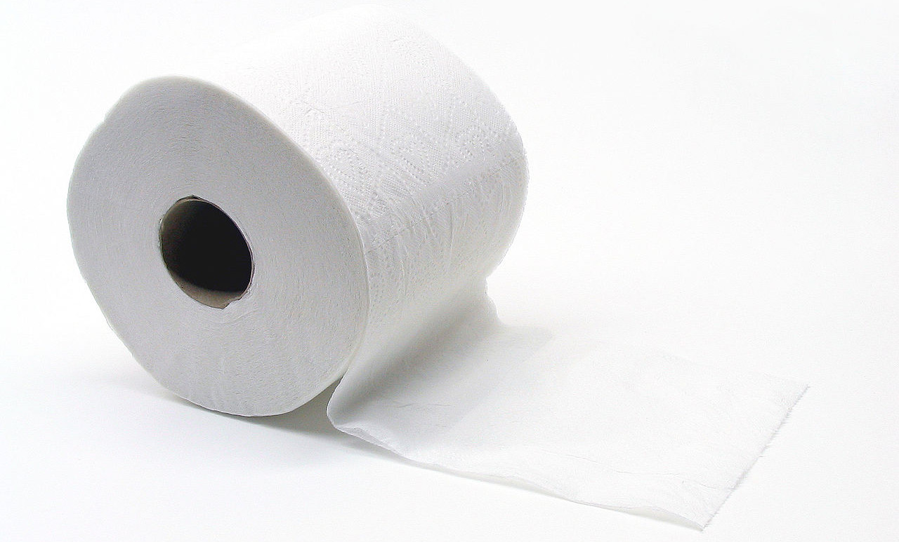 A white toilet roll