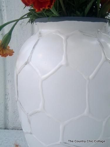 West Elm Green White Paint Vase