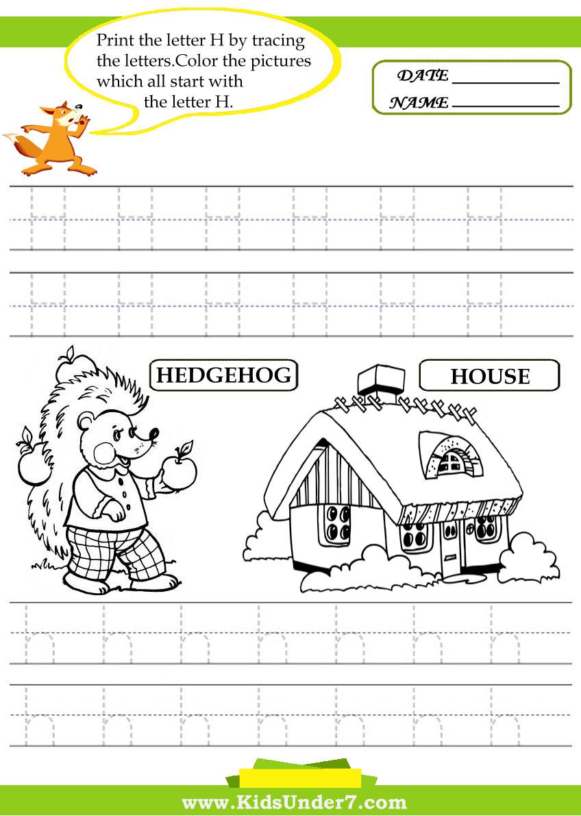 kids under 7 alphabet worksheets trace and print letter h
