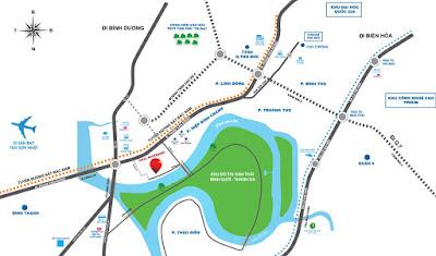 Vị trí căn hộ Opal Riverside Bình Triệu