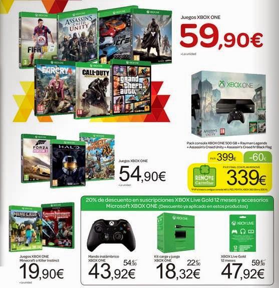 Consola XBOX One + 3 Juegos 399 Carrefour 14-15