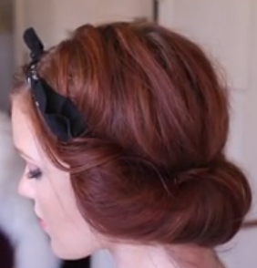 Updo Hairstyle for long hair: The Headscarf Roll