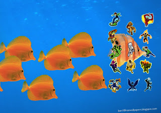 Ben Ten 10 Posters wallpapers Ben Ten and Friends in Aquarium Follow Fishes background
