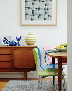 Geoff Kirk's dining room, with a G Plan table, Jacobsen Series 7 chairs and a vintage sideboard. Photo by Mark Scott