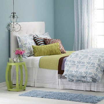 blue and green bedroom, upholstered headboard, guest bedroom