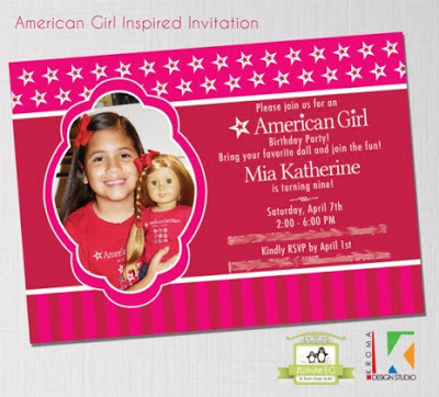 featured party} american girl birthday party  kroma design studio, Birthday invitations