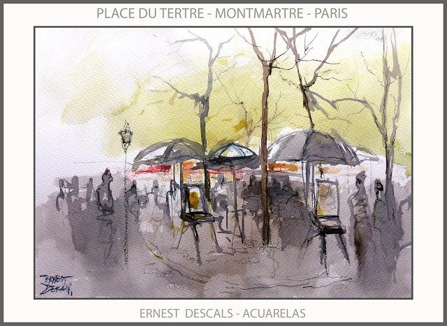 PARIS-PINTURA-MONTMARTRE-PLACE- DU TERTRE-ACUARELAS-PINTURAS-FRANCIA-PINTORES-ACUARELA-ARTISTA-PINTOR-ERNEST DESCALS-