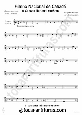 Tubescore Canada Nathional Anthem sheet Music for Trumpet and Flugelhorn O Canada Music score