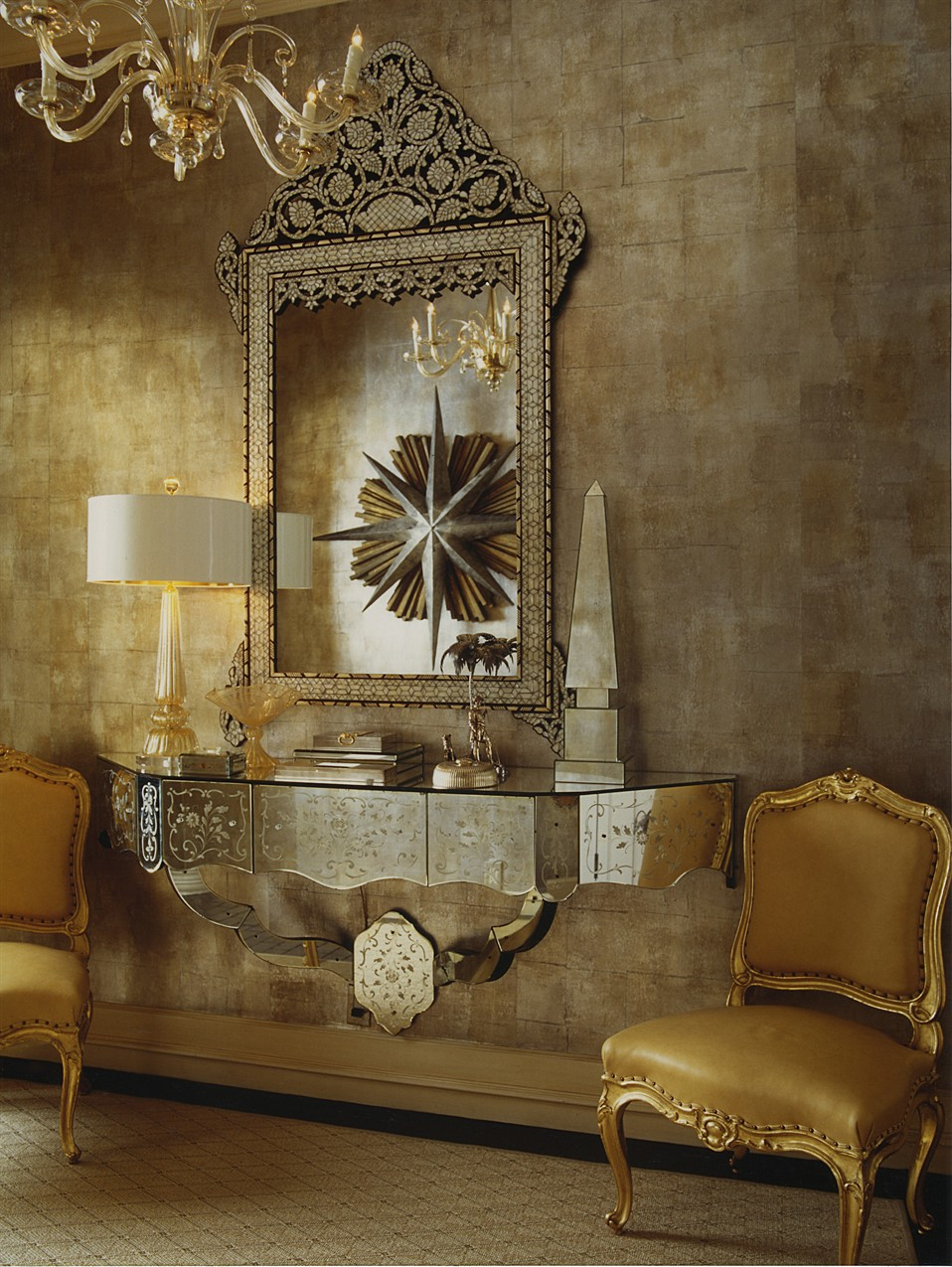 Elegant And Dramatic Entry Foyer Gets The Gilded Touch With Hand Blocked Metallized Paper Gold Covered French Chairsthe Result Is A Beautiful Layered