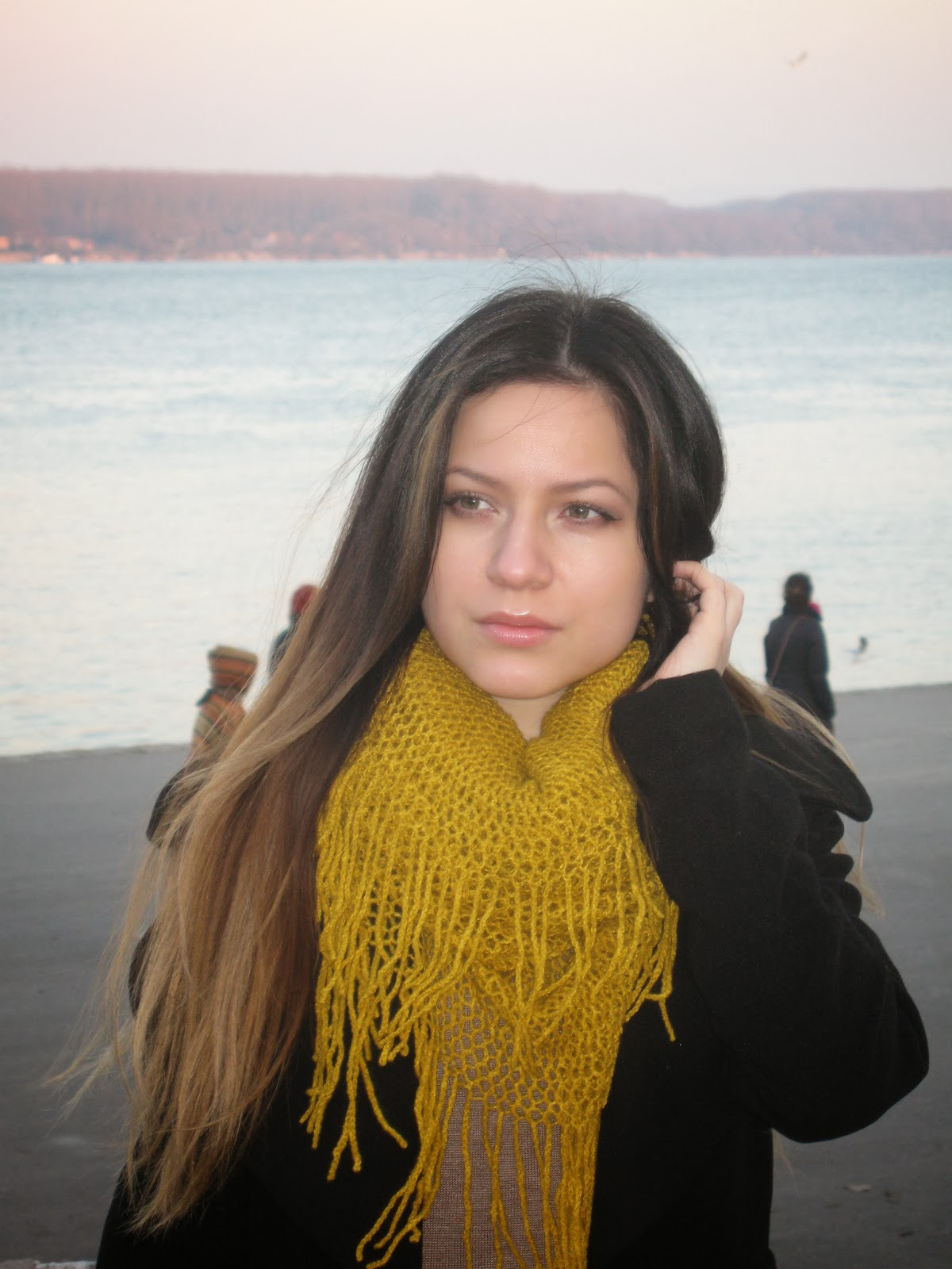 ombre hair, mustard scarf