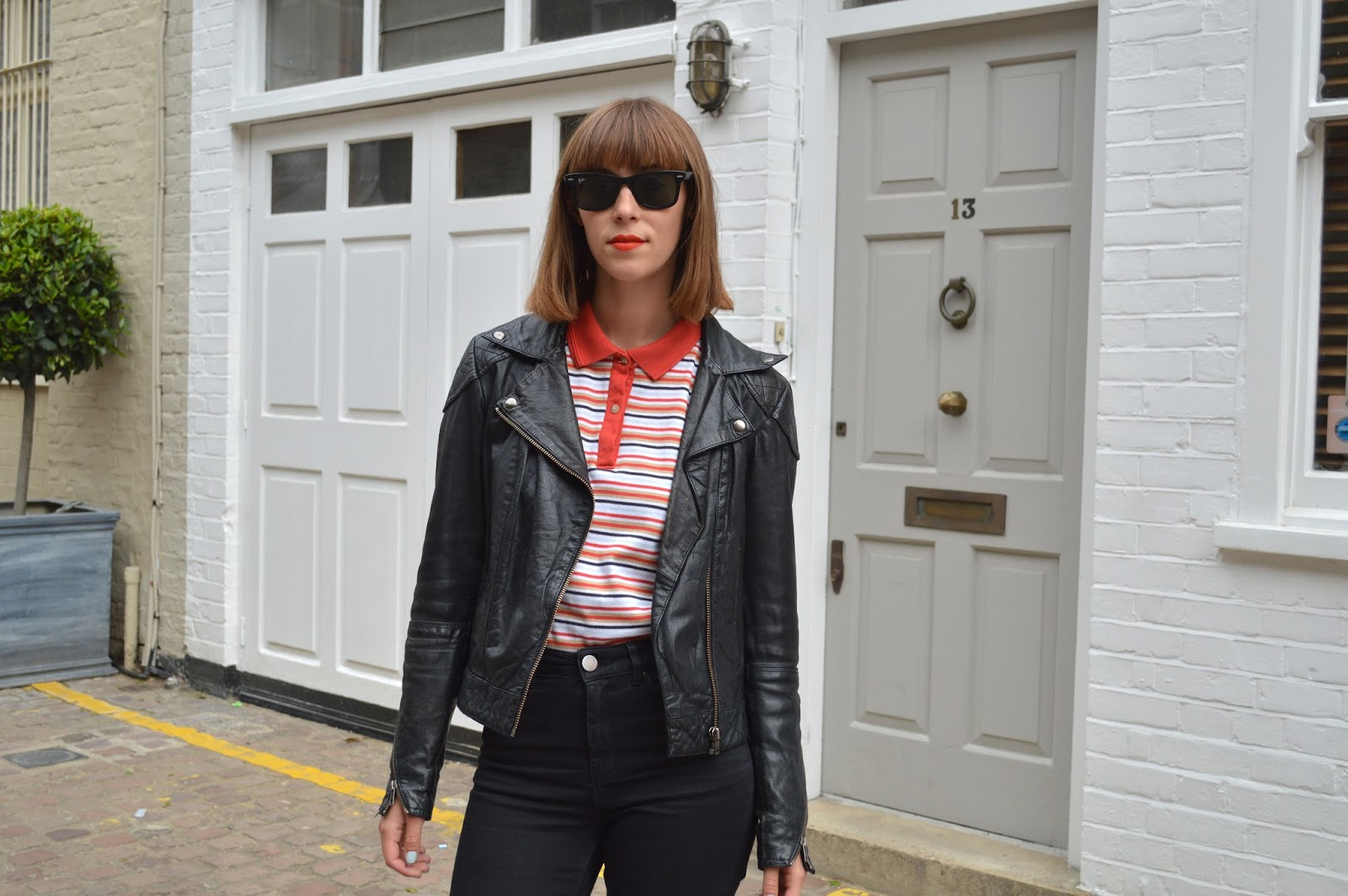 How to wear a striped polo shirt with ASOS leather jacket