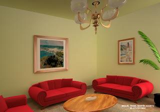 Vista de la sala de estar hacia una de las esquinas con dos sillones a ambos lados