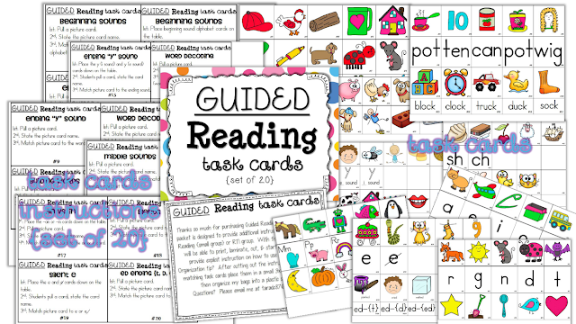 http://www.teacherspayteachers.com/Product/Guided-Reading-Task-Cards-Set-of-20-1004564