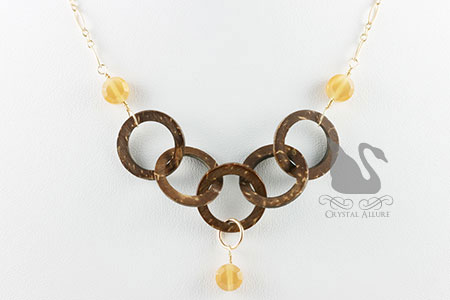 Coconut Shell Circle Topaz Bead Necklace (N057)
