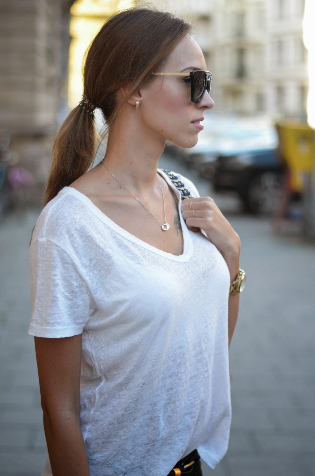kristjaana mere white hm t-shirt prada cinema sunglasses