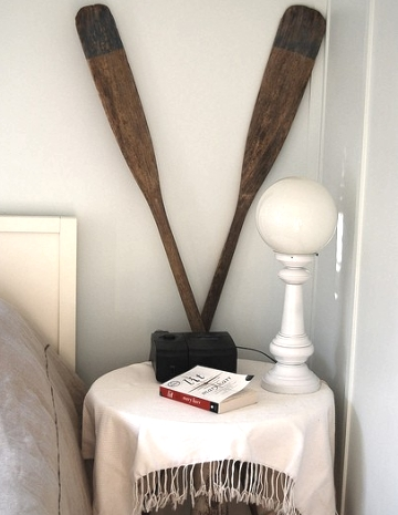 bedroom decor with oars