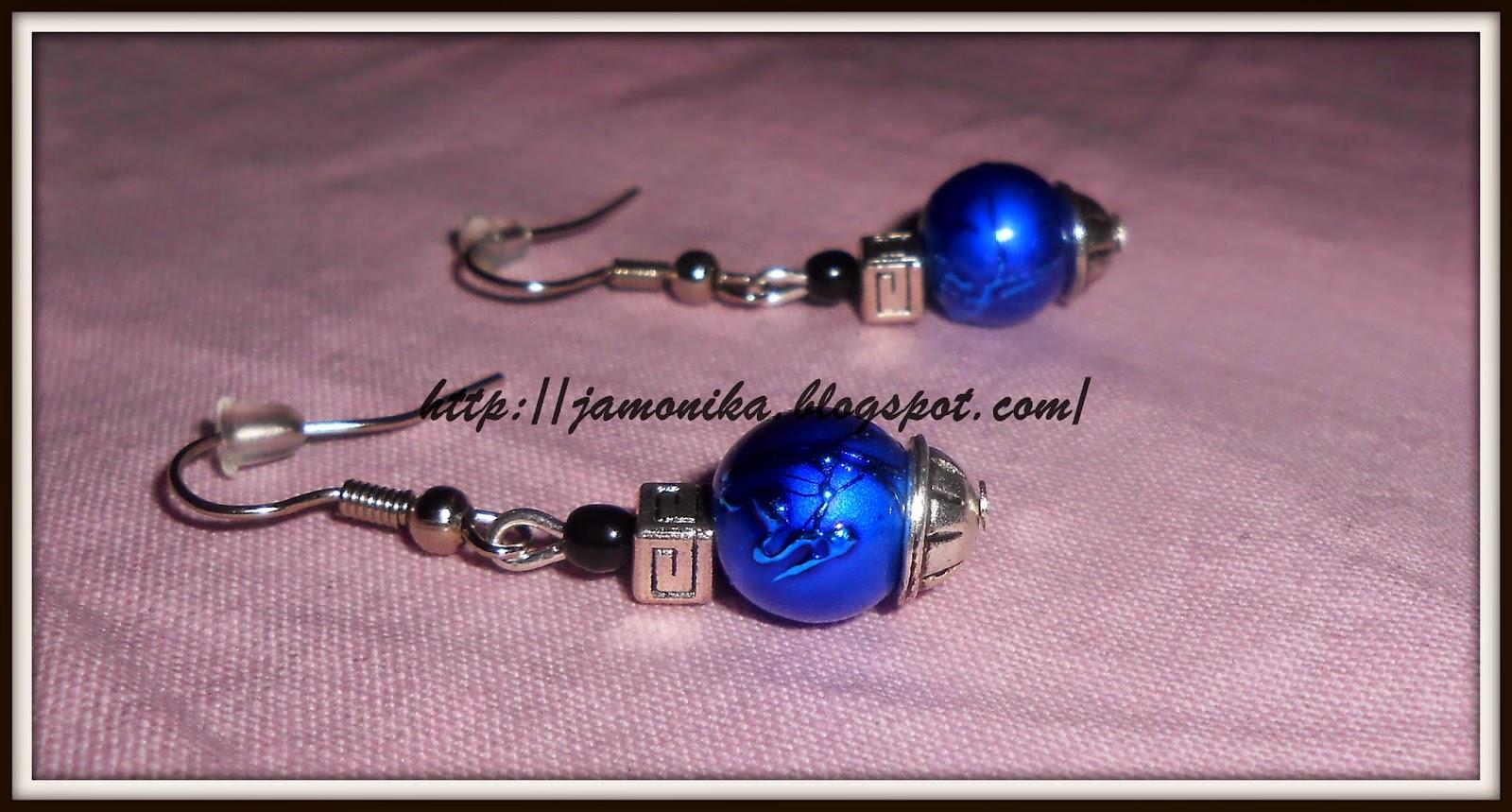 Niebieskie kolczyki z przekładkami