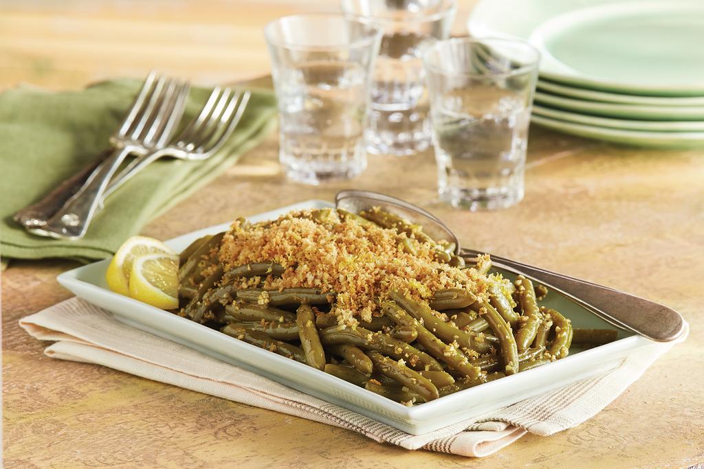 green bean casserole using lemon juice garlic and bread crumbs