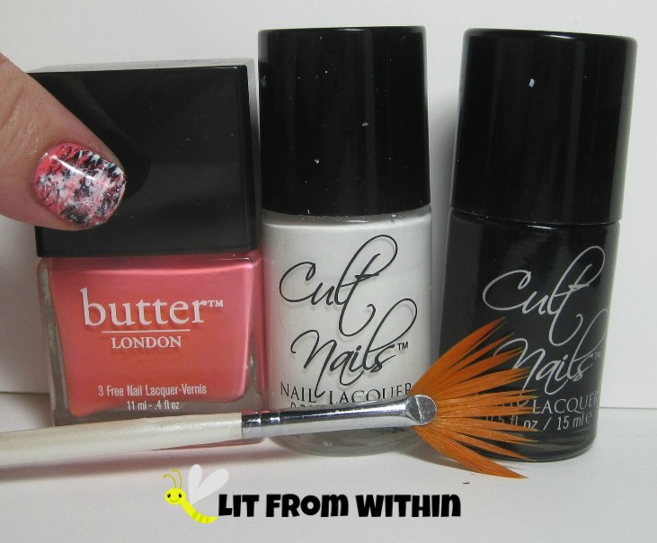 Bottle Shot:  Butter London Trout Pout, Cult Nails Tempest and Nevermore, and my fan brush