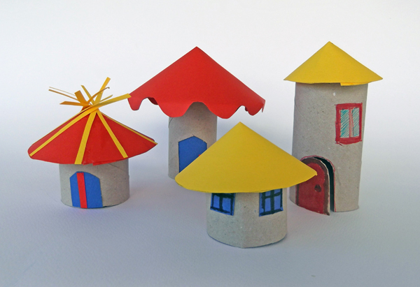 toilet paper rolls crafts, toilet rolls crafts, houses from paper roll, building from paper roll, paper rool ideas, toilet paper roll ideas, reuse art, recycled art,