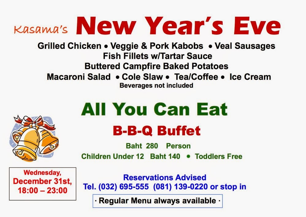 New years eve bbq buffet at kasamas on wednesday dezember 31st 2015 enjoy the last evening of the year and spoil yourself with the all you can eat barbecue buffet at kasamas for only 280 baht reservation is advised solutioingenieria Image collections