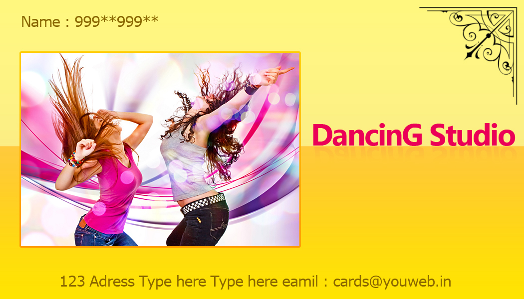 Business card india templates design free download uniq visiting dance studio business card free download dancing school colourmoves Gallery