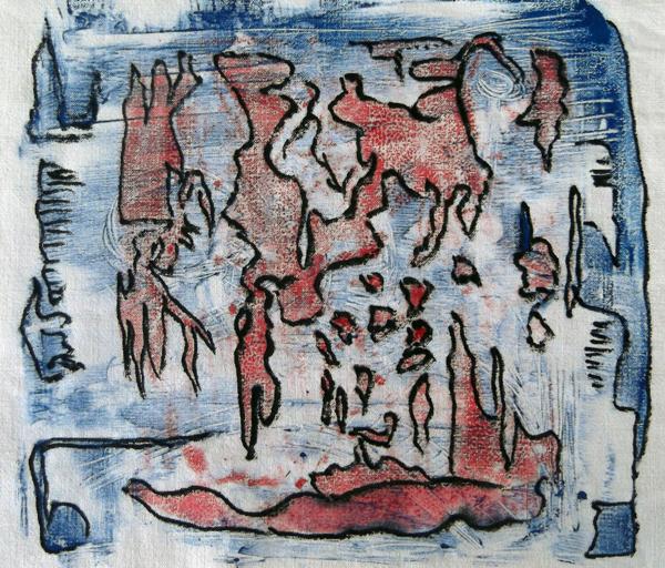 μονοτυπία, ζωγραφική σε ύφασμα, αυτόματη ζωγραφική, αφηρημένη ζωγραφική