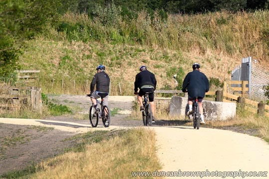 Cyclists on the Central Hawke's Bay Rotary River Pathway photograph