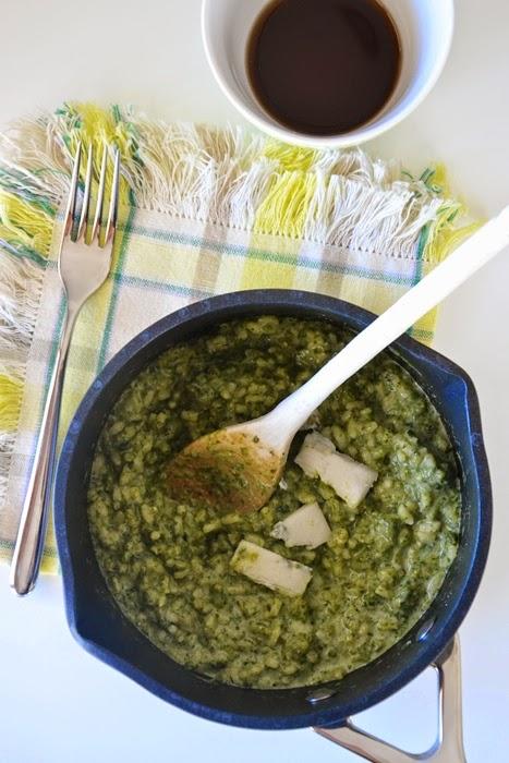 risotto spinaci e zola di capra