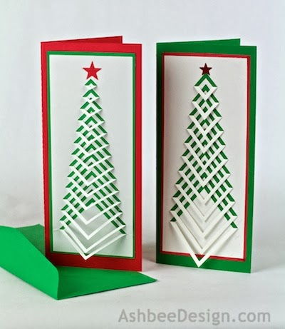 Ashbee Design Silhouette Projects DIY Christmas Card #2: AshbeeDesign Chevron Christmas Tree white 4 % )