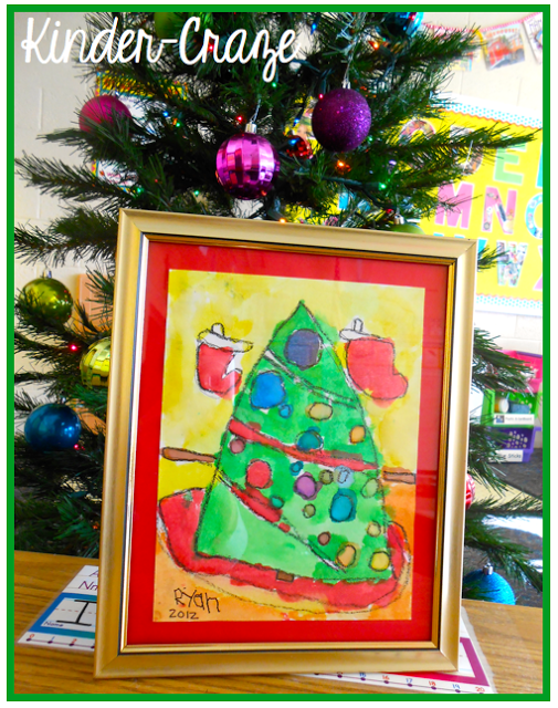 framed watercolor Christmas tree painting… such a sweet parent gift!