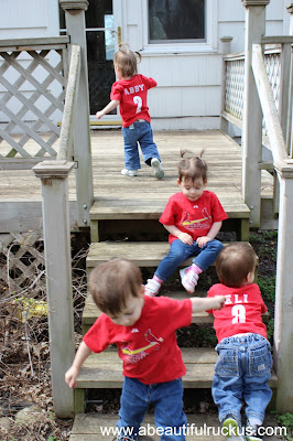 toddler quadruplets Cardinals fans