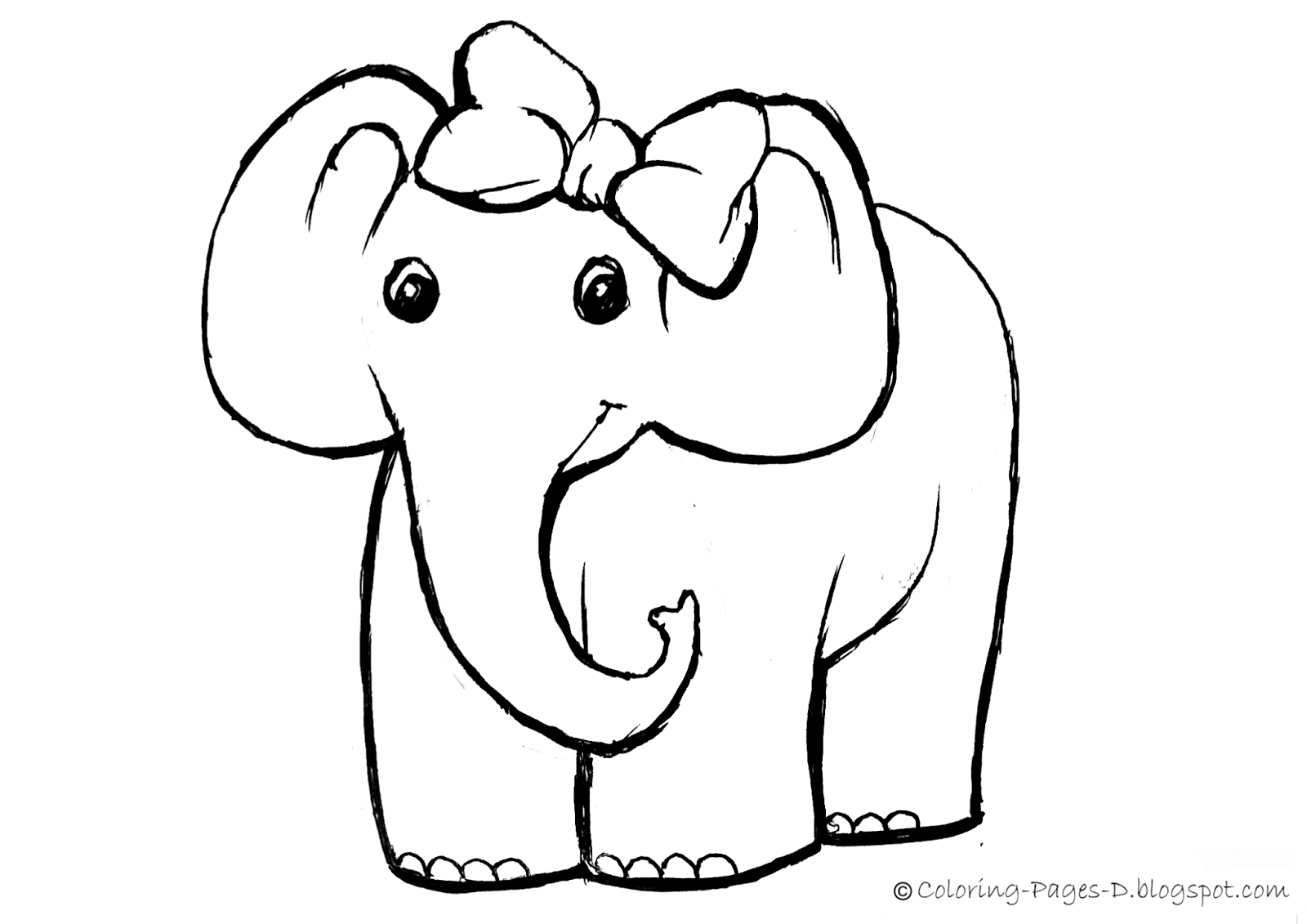 Coloring pages d free elephant coloring pages for Free online drawing