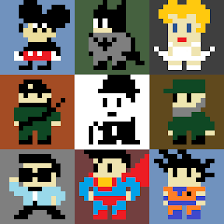 A 3x3 Sprite Grid with mostly fictional characters, all 16x16 pixels.