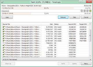 Interfaccia grafica di Teracopy