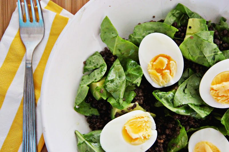 avocado spinach lentil and egg salad recipe