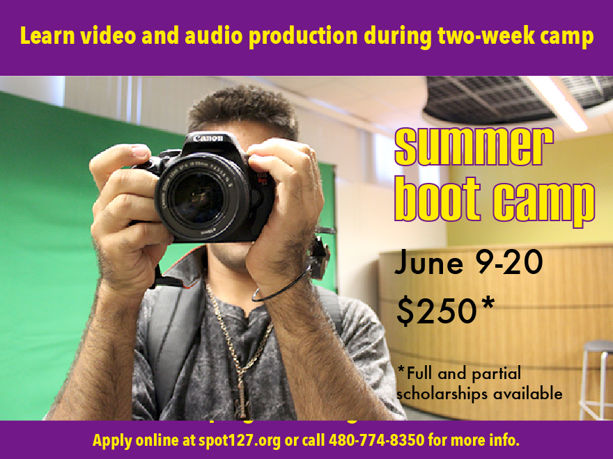 Learn video and audio production during a two-week boot camp with KJZZ's SPOT 127 youth media center..  June 9-20.  $250 per student.  Full and partial scholarships available.