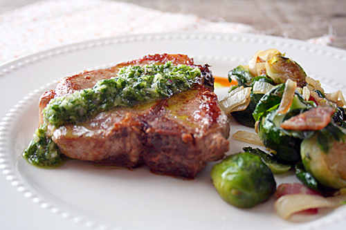 Pork Chops with Chimichurrie Sauce and Sauteed Brussels Sprouts