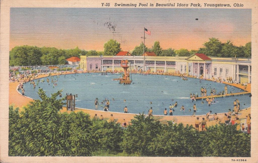 Swimming Pool Postcard Idora Park Youngstown Ohio