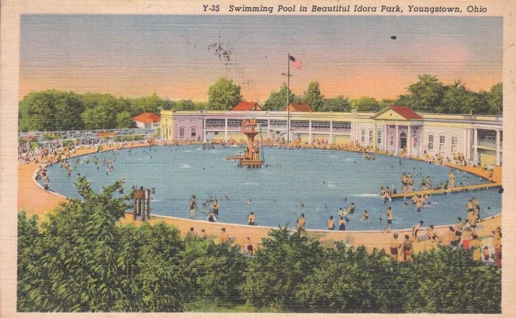 swimming pool postcard idora park youngstown ohio