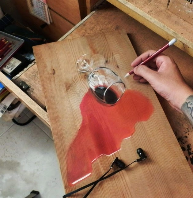 Photorealistic Drawings on Wooden Boards-1
