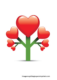Arboles de corazones para imprimir