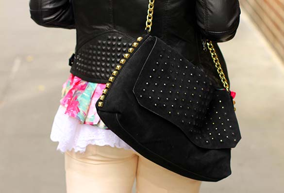 Zara Suede Black Studded Handbag