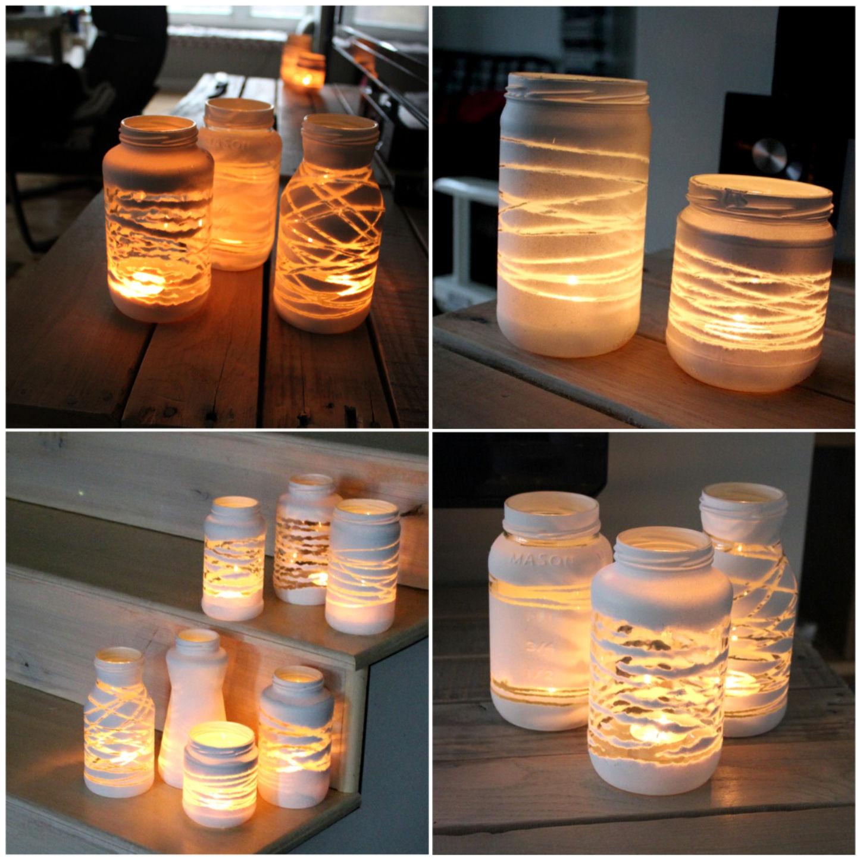 materiais potes de vidros cordão de lã ou barbante tinta #BC770F 1450x1450