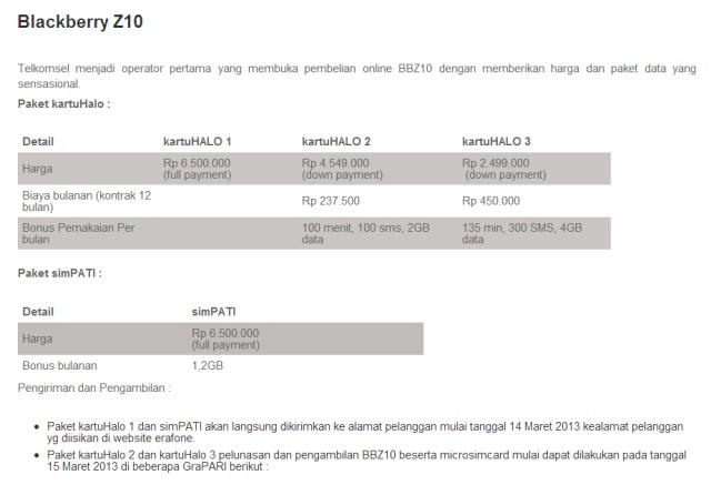 harga BlackBerry Z10 telkomsel