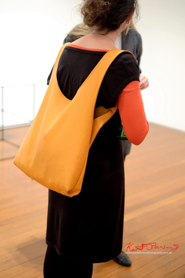 Yellow backpack style handbag - Street Fashion Sydney by Kent Johnson.