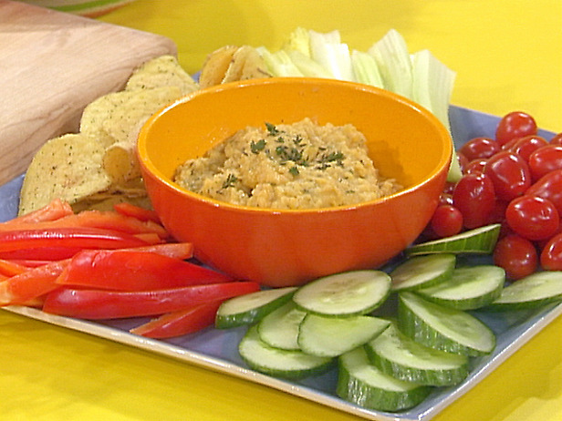 Lemon-Garlic Chick Pea Dip with Veggies and Chips Recipe